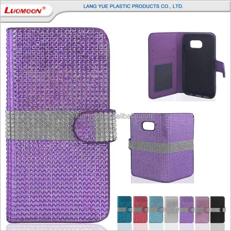 Flip diamond bling leather flip wallet phone case cover for iphone 6 6s plus 7 7s for samsung galaxy s4 i9500