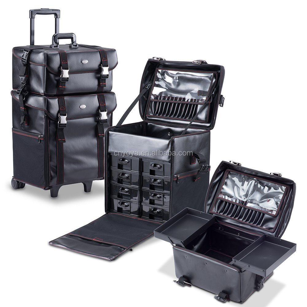 2 in 1 soft sided cosmetic trolley makeup case