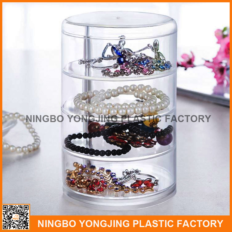 dust-proof Acrylic Cosmetic creative display rotated jewelry storage box with lid Multilayer organize jewelry box