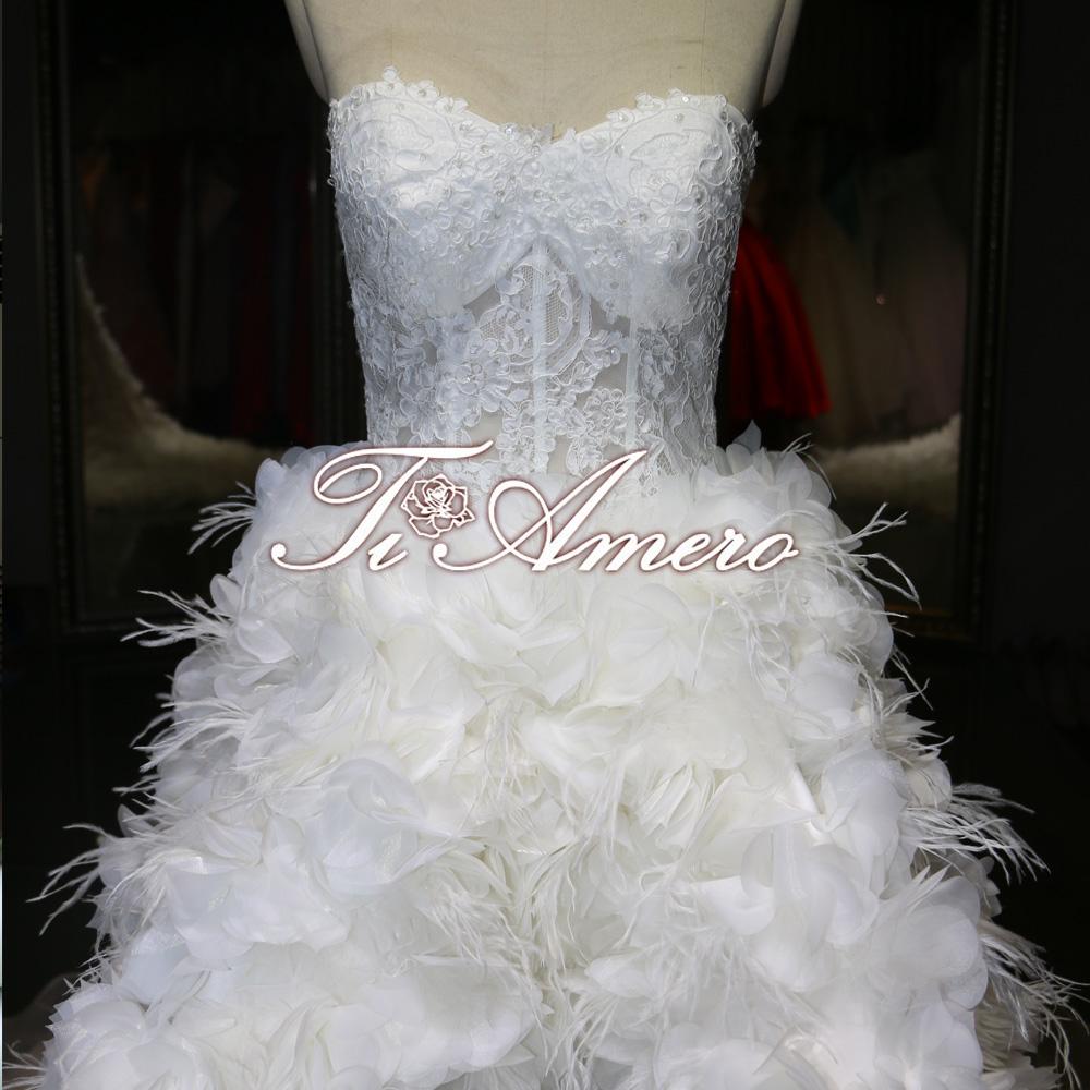 Luxury Ostrich Feather Front Short Long Train Corset Wedding Gown Wedding Dre