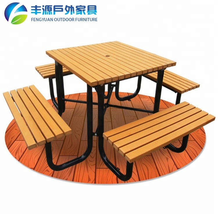 Leisure Style Summer Winds Italian Patio Furniture 100% Recycled HDPE Wooden Picnic Table And Bench