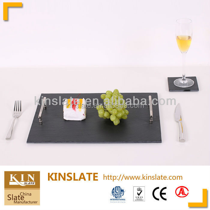 Black Slate Stone Cheese Biscuit Board with Handle