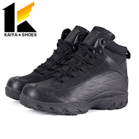 Tactical black army leather boots combat