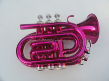 PTR-3PEN Tianjin Musical Instruments Professional Color Pocket Trumpet,Pink BB Cornet