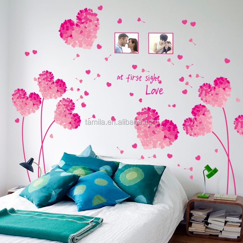Valentines Day Red Heart Removable Photo Frame Wall Sticker