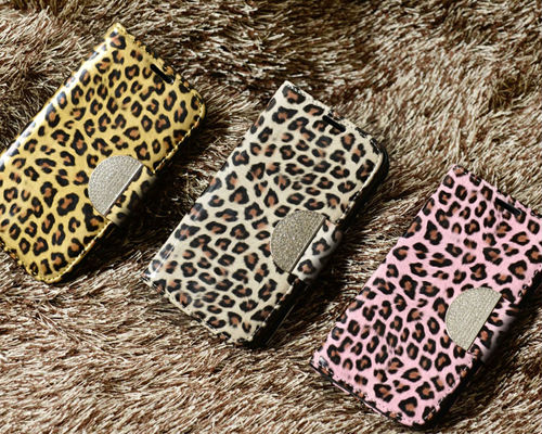 NIZWELL Leopard Diary Wallet Phone Case for Samsung Galaxy Note 3 N900 Enamel Leopard Pattern Handmade Fashion Item Cubic Holder