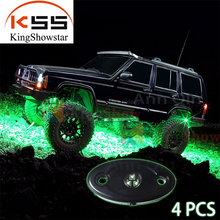 Green 4 Pods LED Rock Light,Waterproof Accent Glow Neon LED Light Kits for Offroad Truck Boat Deck Underbody Interior Exterior