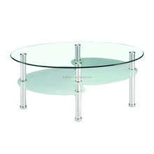 modern cheap oval shape glass coffee table