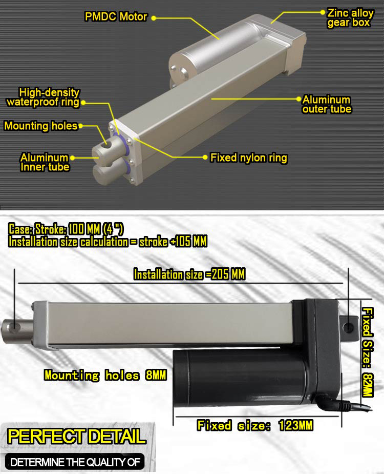 Electromechanical electric Linear Actuator 12vdc
