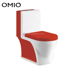 Porcelain one piece toilet chinese style red color wc toilet