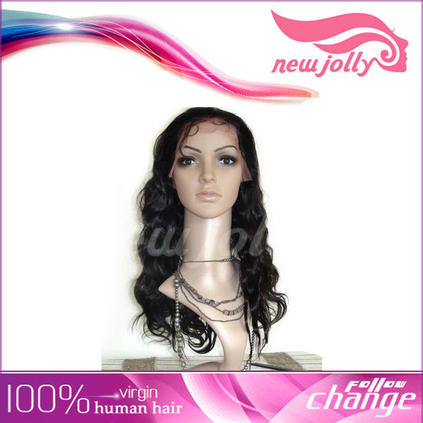 Good quality body wave full swiss lace white human hair wig