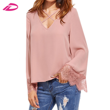 Women Full Sleeve Shirts Blouses Korean Fashion Style Women Clothes Pink Crisscross V Neck Lace Trim Top Blouse