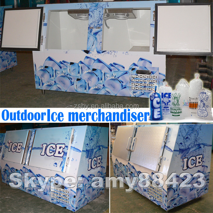 Slant ice merchandiser used for 120 bags ice