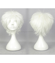 CW0114 Gin Tama Short Straight White Synthetic Hair Cosplay Wigs