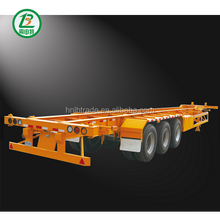 widely used 3 axle 20ft flatbed container semi trailer 40ft skeleton container semi-trailer