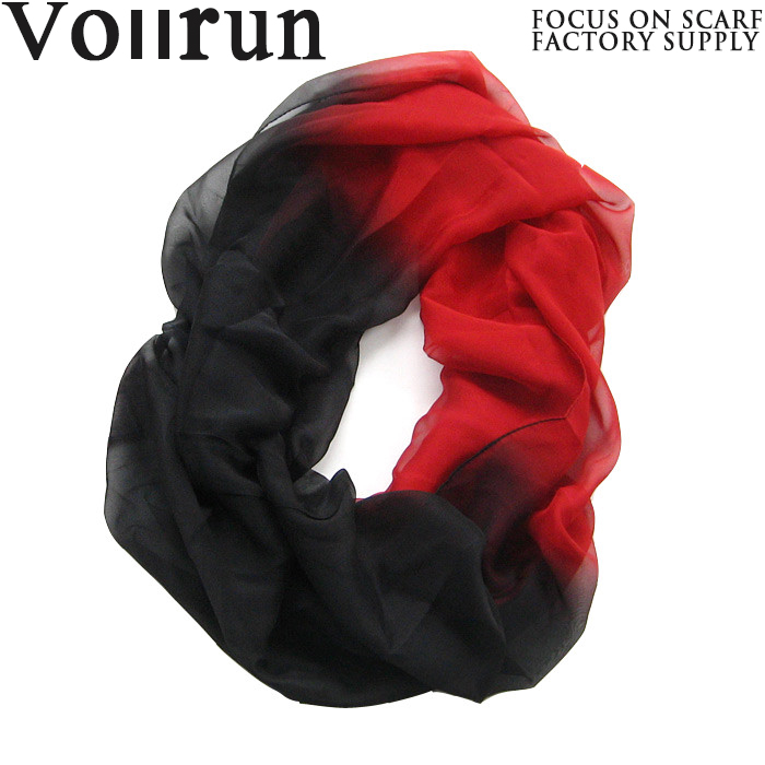 Black Red Gradient Ombre China Silk Scarf
