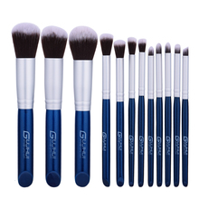 GUJHUI blue and silver synthetic 12pcs Kabuki make-up <strong>brush</strong>, professional makeup <strong>brush</strong>