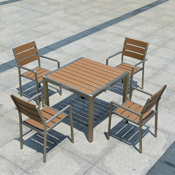 All Weather Outdoor Furniture Set Patio Used Wood Table And 4 Chairs  Plastic Wood Dining Table
