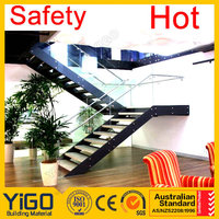 double stringer mild steel glass railing stair&arc staircase