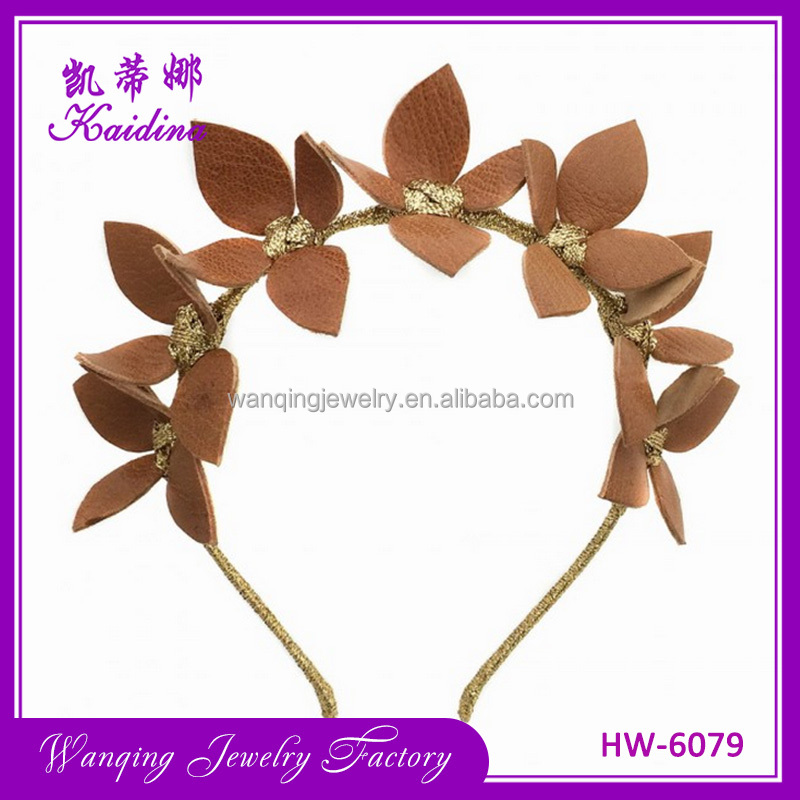 New coming wholesale women decoration hair accessories delicate cute leather leaves gold bow headbands