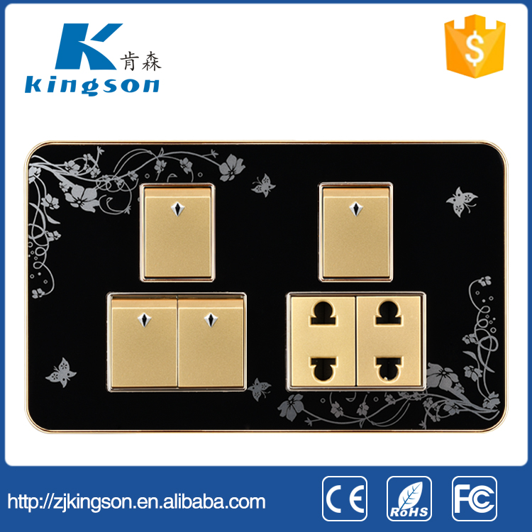Hot sales Dubai Pakistan 4 gang 1 way switch with 16A mutil socket
