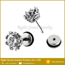 Surgical Steel Prong Set Clear Cubic Zirconia Fake Plugs Royal Crown Stud Earrings