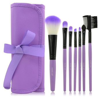 High quality 7pcs cosmetic brush set with silk ribbon