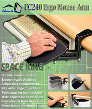 Ergonomical Mouse Pad Arm Swing Platform Lift tray Holder for Clamping on Table Desk
