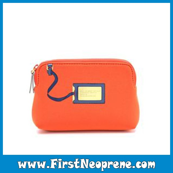 Shining Orange High Quantity Cheap Neoprene Cosmetic Bag