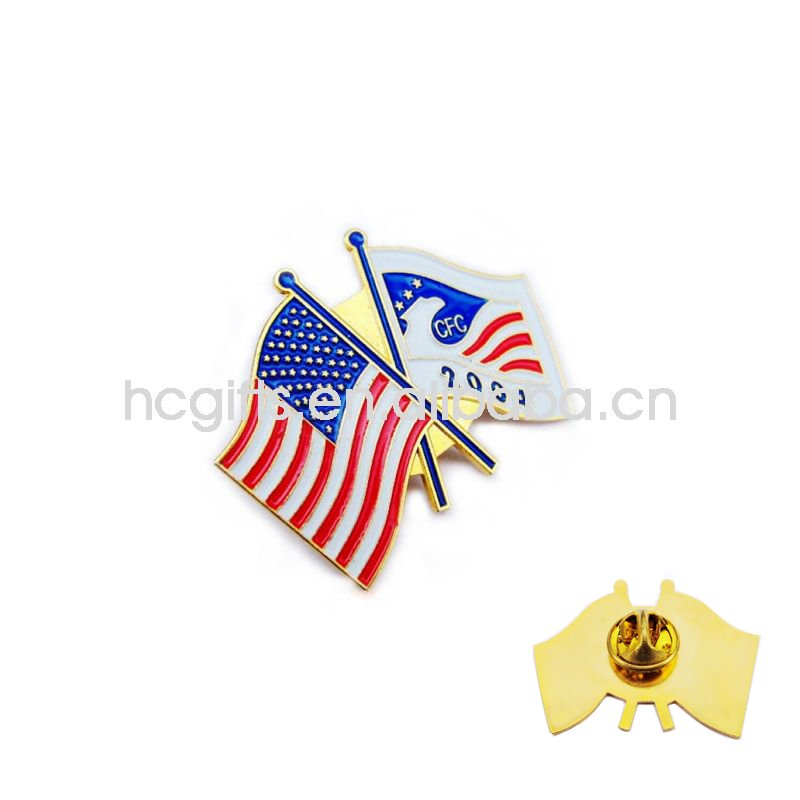 Gold Metal national flag Garment chest Pin GFT-PB1069