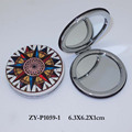wholesale small compass design leather mirror compact