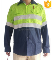 WHOLESALE!High quality unisex green/dark blue two tones hi vis uniform work shirt with three stitchings customize logo