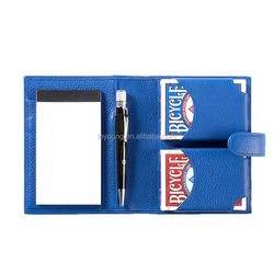 Leather Travel Playing Card Case Card Holder Set With Notepad