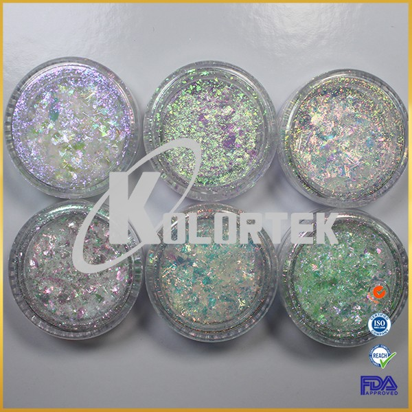 Transparent cameleon iridescent flakes private label solvent resistant crystal ultra chrome flakes