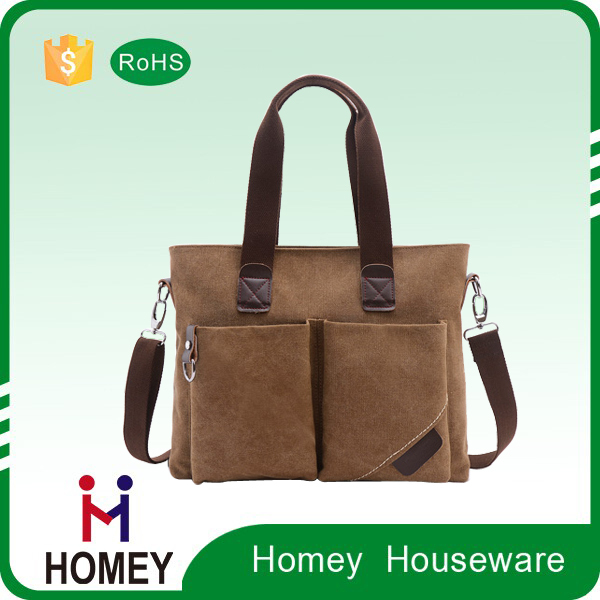 Hot Selling Zip Lock Loading brown canvas leather Business Briefcase School Messenger Laptop bag