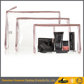 cosmetic zipper bag red color clear pvc women's zipper cosmetic makeup plastic packaging bag with slider zipper closure
