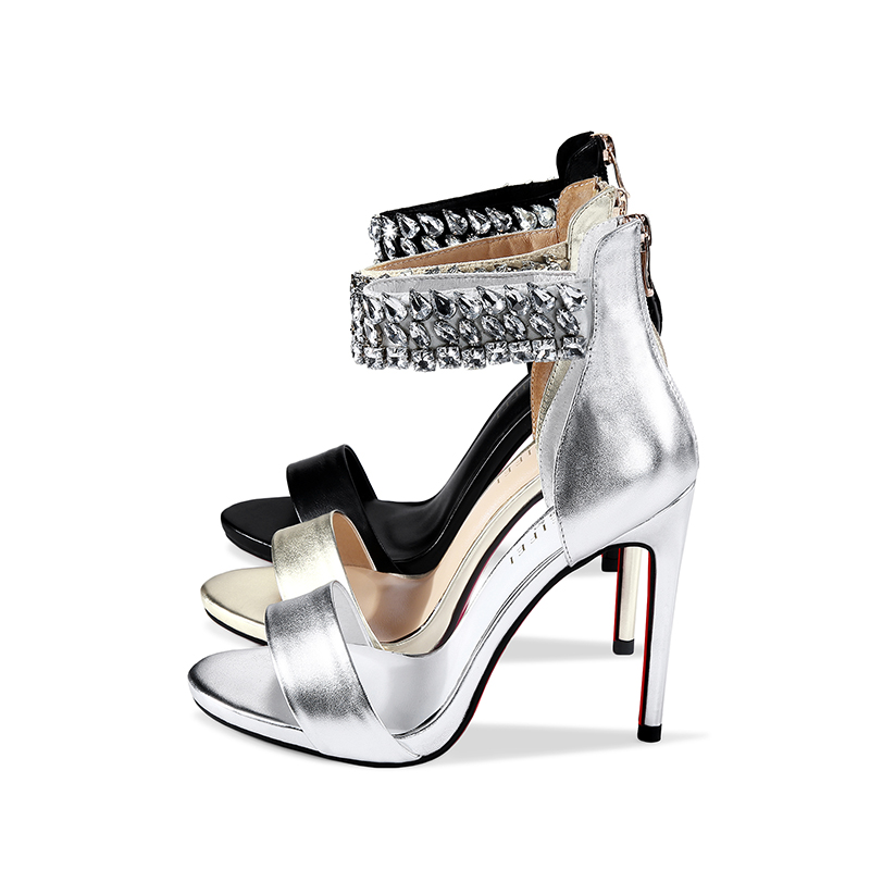 L006 best high heel shoes black silver and gold woman sandals