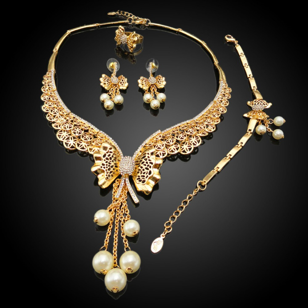 nigerian gold plated jewelry set african lady jewelry set