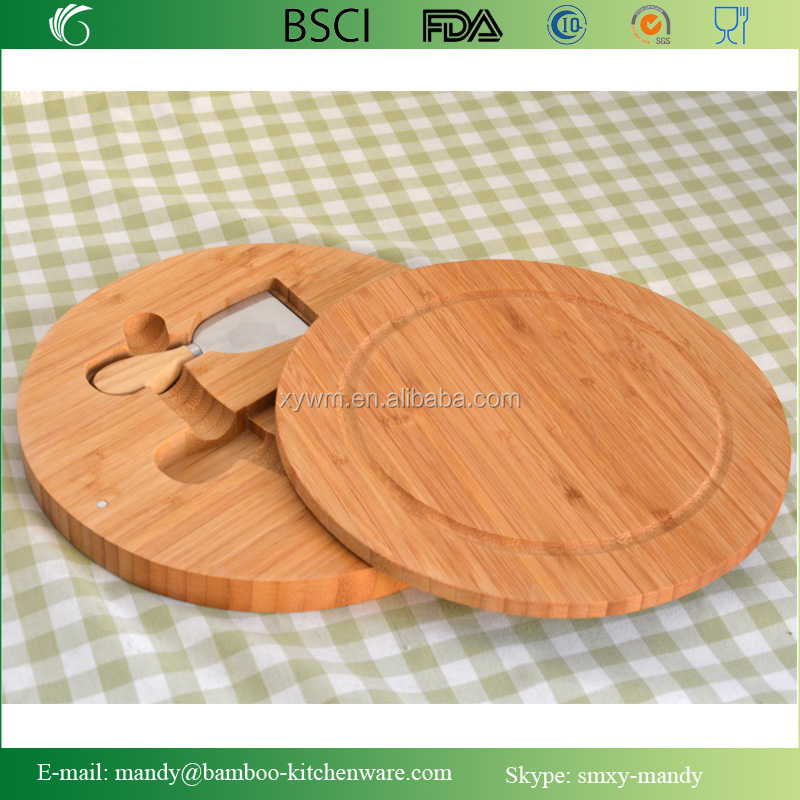 Carved Bamboo Wooden Cheese Chopping Board Knife Serving Platter Set
