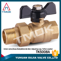 TMOK Made in Italy Single union brass ball valve with T butterfly handles sanitary cock valve for water CE PPR ball valve