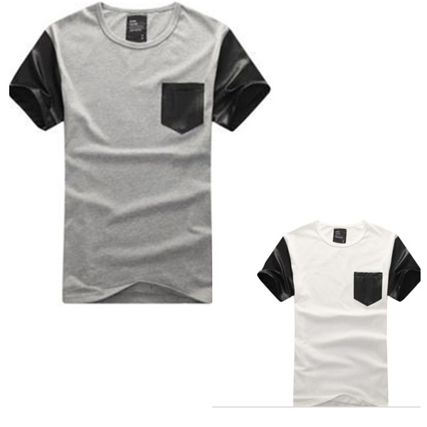 Plain custom t shirt leather sleeves