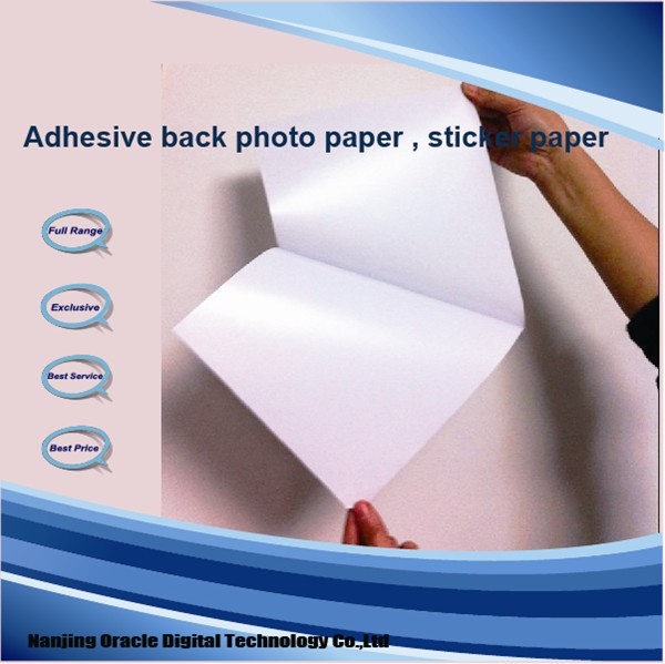 115g Inkjet Photo Sticker Paper, glossy self adhesive photo paper A4