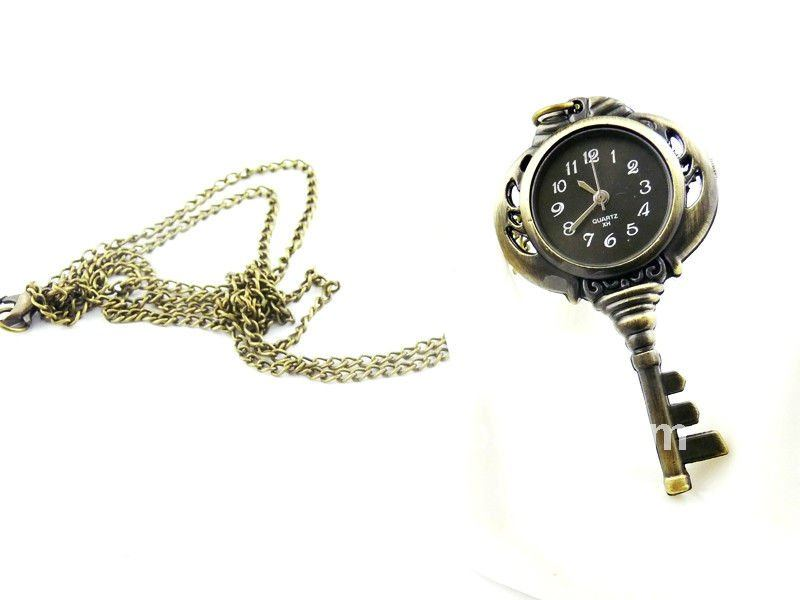 W144 wholesale Antique brass bronze pocket watch chain charm pendant watch necklace nickel free lead free