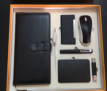 Power bank 10000mah with business name card & wireless mouse & pen & notebook &8gb usb flash drive and pen gift sets