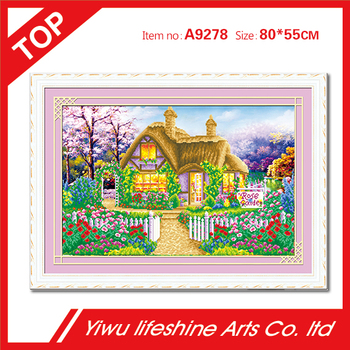 spring castle diamond painting embroidery DIY resin round crystal cross stitch kits diamond mosaic diamond