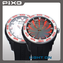 PX-8 Wholesales Low MOQ silicone rubber water resistant black RED sporty Branded new fashion men watch for unisex