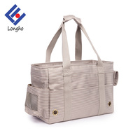 2017 New fashion wholesale dog carriers high quality elegant stripe pet tote bag with side mesh window cover