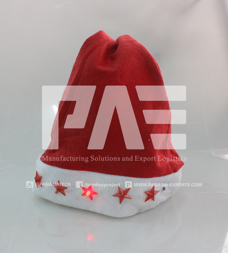 2015 Promotional Christmas Santa Claus LED Cap/Hat with Customized Logo