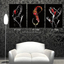 Digital Prints Contemporary Oil Paintings 3 Panel Wine Glass Fruits Dancing Still Life Paintings for Interior Decoration