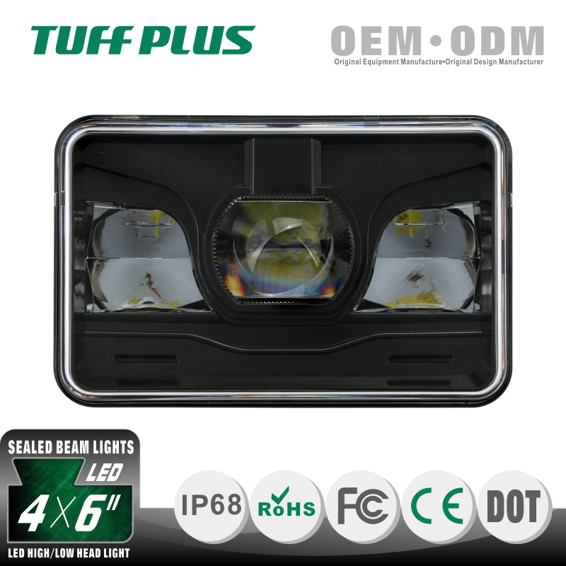 High quality DOT approval high low beam square 4x6 led headlight dot for truck old cars
